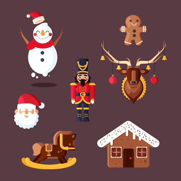 Рождественский элемент плоский дизайн набор Бесплатные векторы