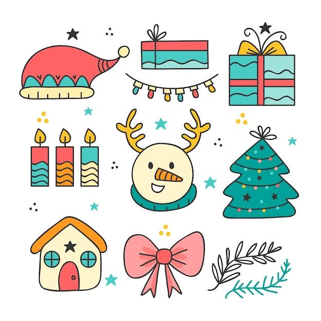 Рождественский элемент рисованной набор Бесплатные векторы