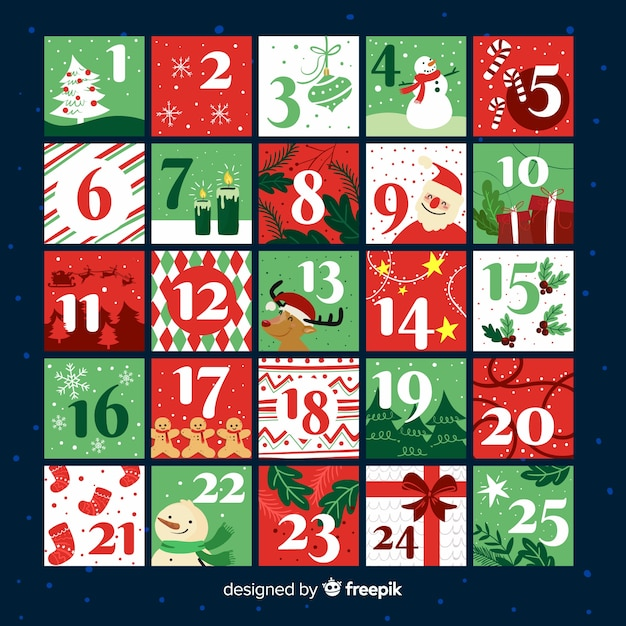Christmas elements advent calendar Free Vector