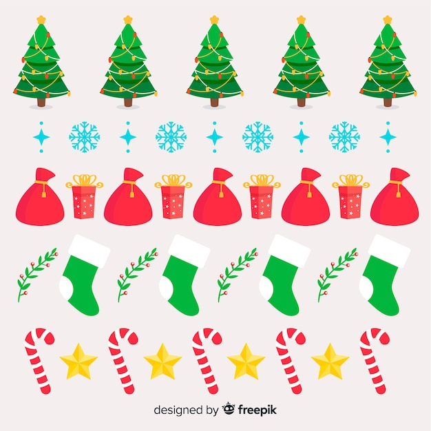 Christmas Elements Border Pack Vector Free Download