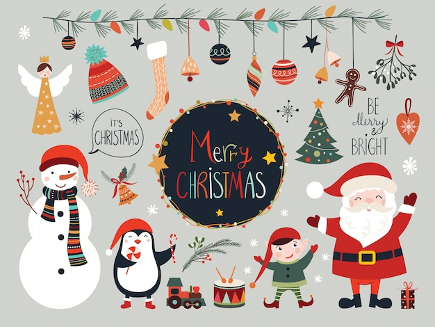 Christmas elements collection with santa and snowman Premium Vector