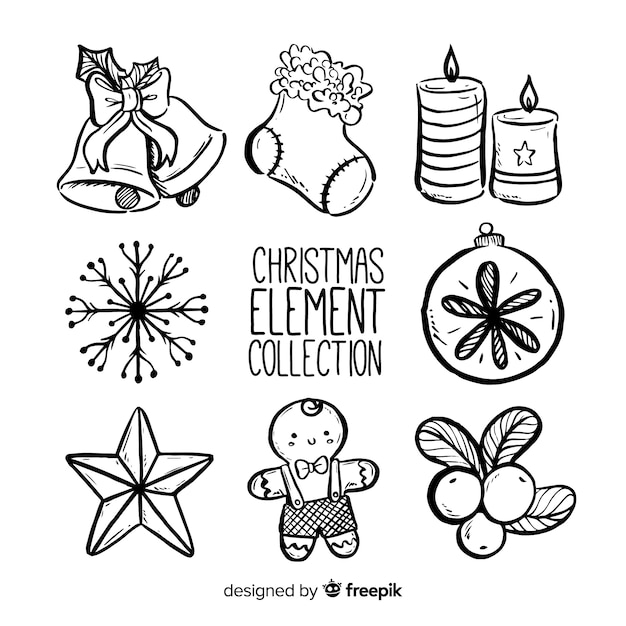 Christmas elements collection Free Vector