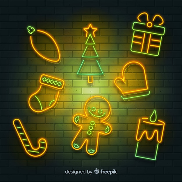 Christmas elements neon sign Free Vector