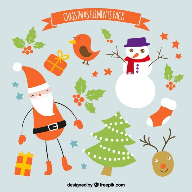 Christmas elements pack Free Vector
