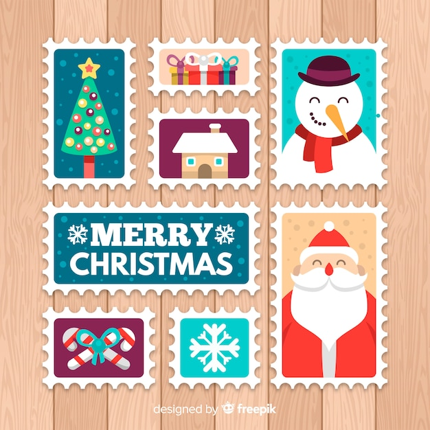 Christmas elements post stamps collection Free Vector