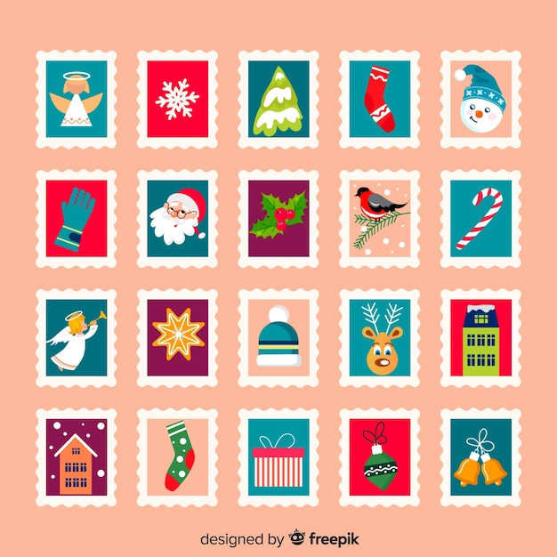 Christmas elements post stamps Free Vector