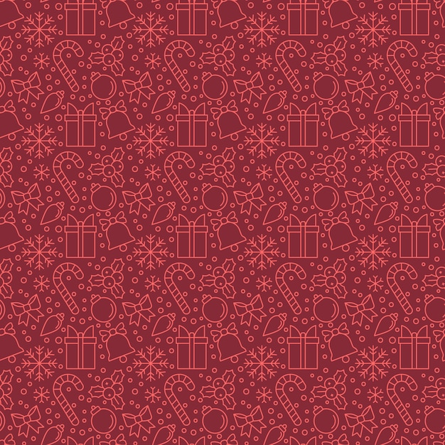 Christmas Elements On Red Backgrounds Eamless Pattern For