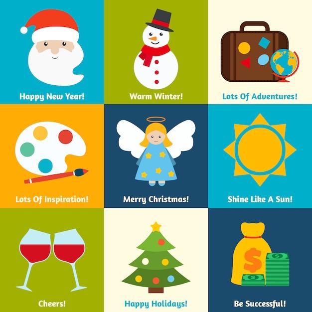 Christmas elements set Premium Vector