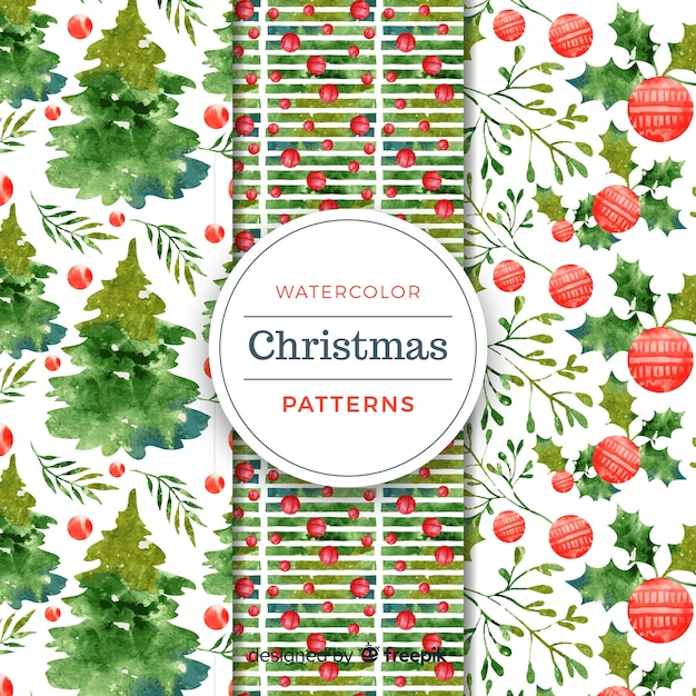 Christmas elements watercolor pattern Free Vector