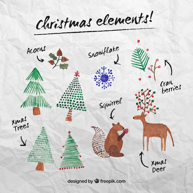 Christmas elements in watercolor style Free Vector