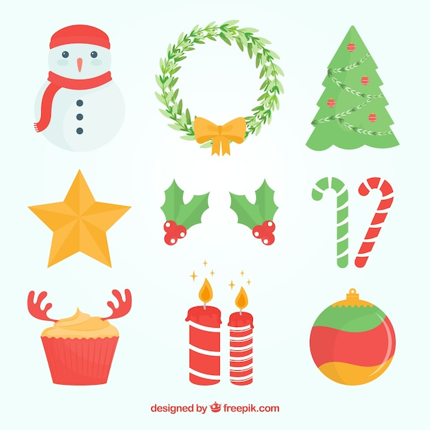 Christmas elements with fun style