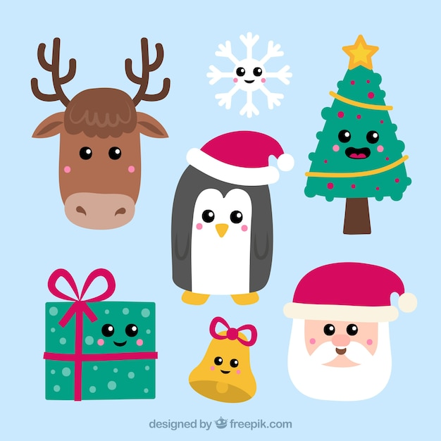 christmas elements with smiley faces free vector - Christmas Smiley Faces