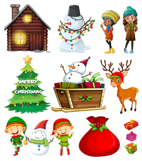 Christmas elements with tree and many characters Free Vector