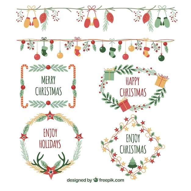 Christmas elements Free Vector