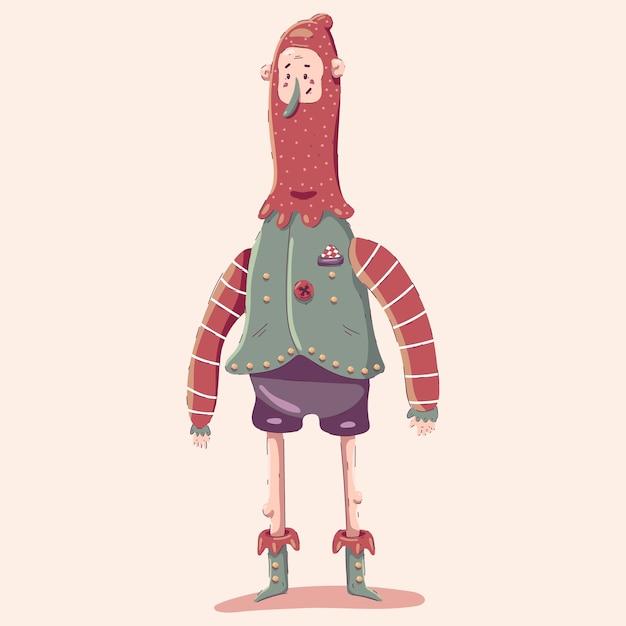 背景に分離されたクリスマスエルフの漫画のキャラクター。 Premiumベクター