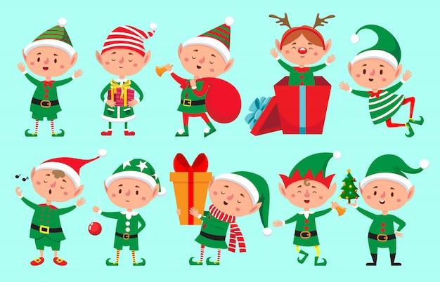 Premium Vector | Christmas elf character. santa claus helpers, cute dwarf elves funny characters