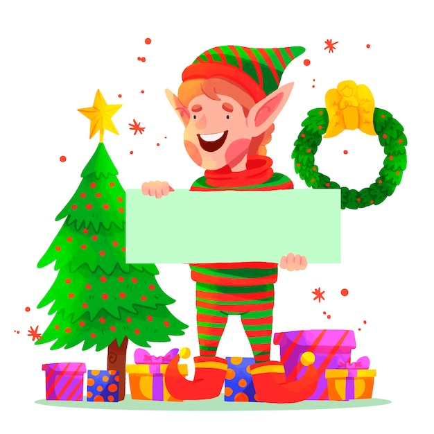 Christmas elf holding blank banner Free Vector