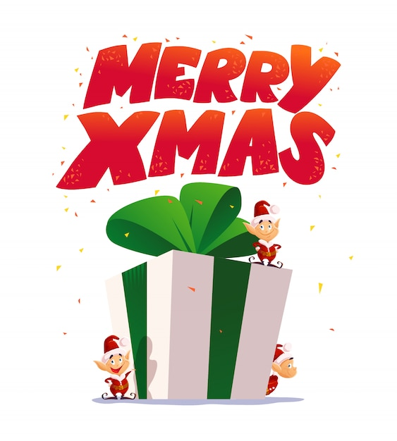 Christmas elf portrait set. santa elf character. cartoon style illustration. happy new year, merry xmas  element. good for congratulation card, , flayer, , poster. Premium Vector