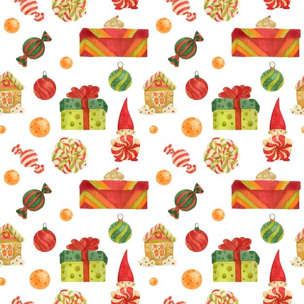 Шаблон фабрики рождественских эльфов с пряниками, леденцами и подарками Premium векторы