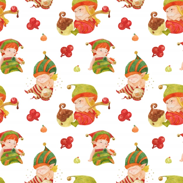 Christmas elves story pattern, baby elves with sweets and crystal ball on a white Premium Vector