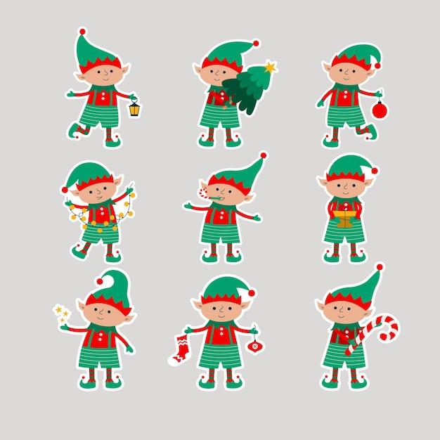 贈り物、木、ボール、ランタン、星、灰色の背景で隔離の花輪とクリスマスエルフ。サンタクロースのヘルパーが付いている平らなステッカー。 Premiumベクター