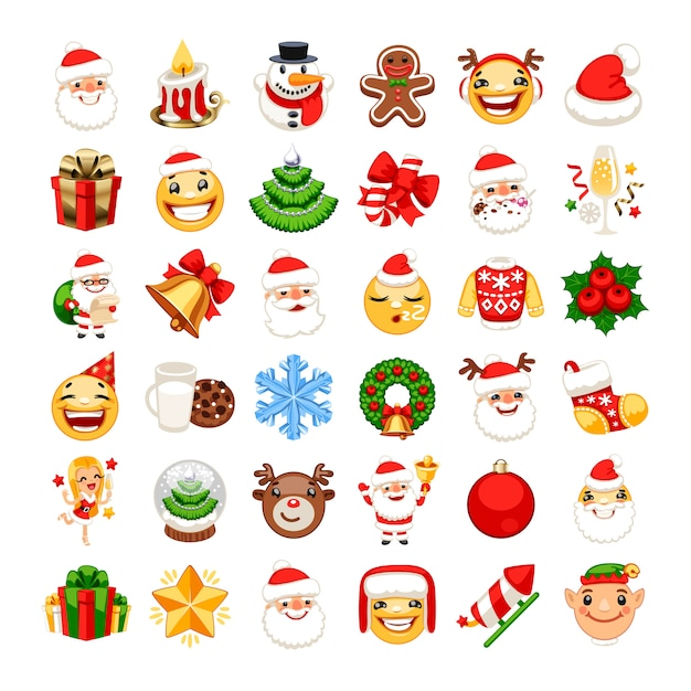 Christmas emojis set Premium Vector