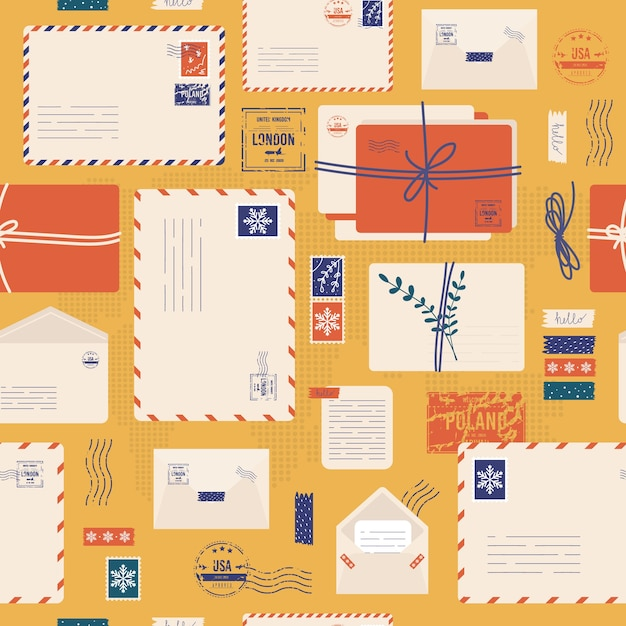Christmas envelope seamless pattern. mail envelope, stickers, stamps and postcard Premium Vector