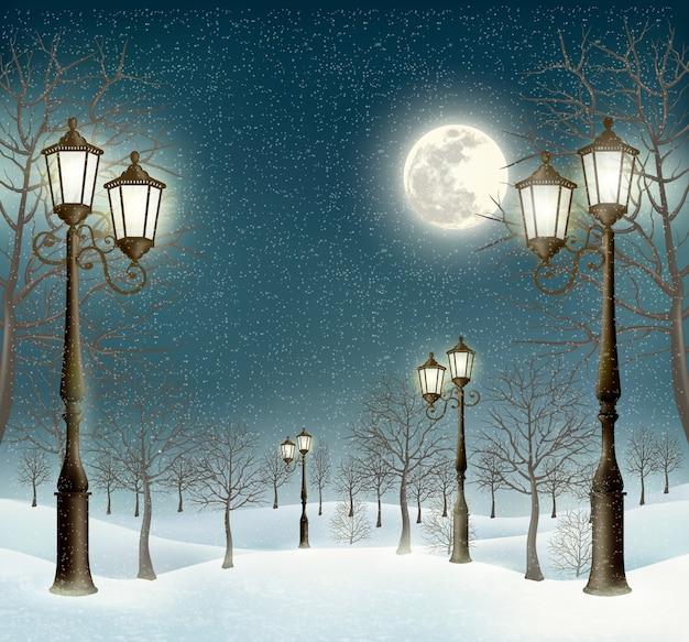 街灯のあるクリスマスの夜の冬の風景。 Premiumベクター