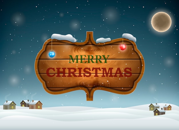 Christmas evening with wooden board. Premium Vector