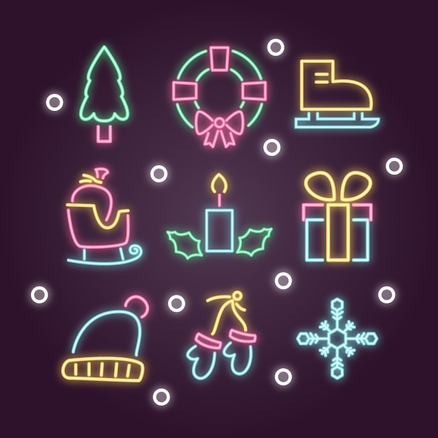 Christmas event decoration in neon Free Vector