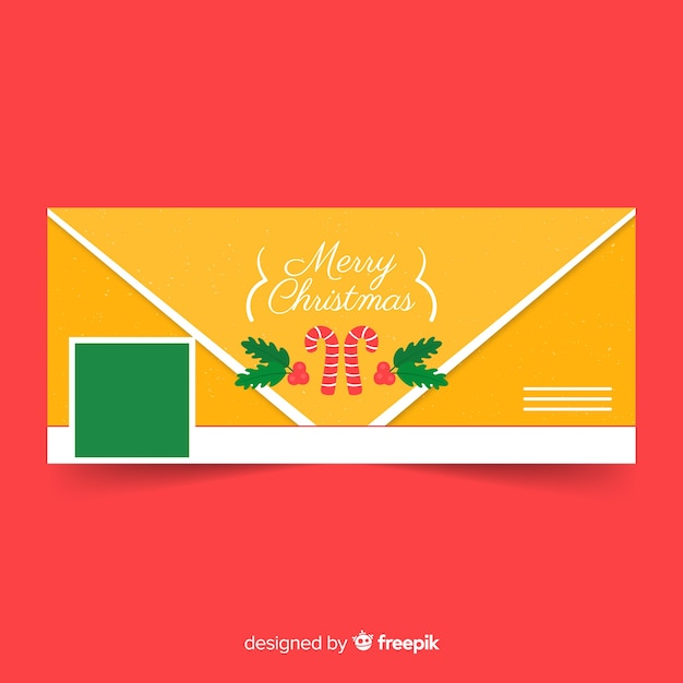 Christmas facebook cover flat envelope Free Vector