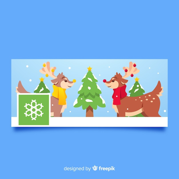 Christmas Facebook Cover Photo.Christmas Facebook Cover Flat Reindeers Vector Free Download