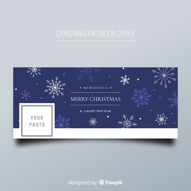 Christmas facebook cover flat snowflakes Free Vector