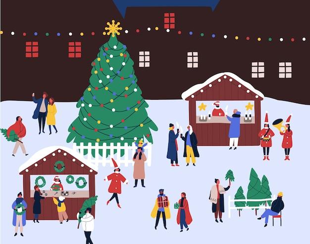 Рождественская ярмарка плоской иллюстрации. Premium векторы