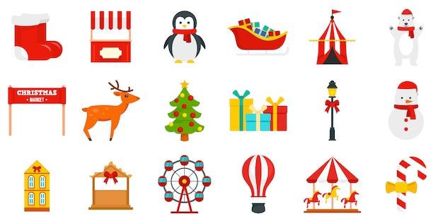 Рождественская ярмарка икона set Premium векторы