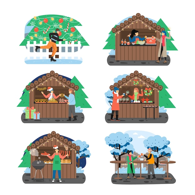 Рождественская ярмарка набор Premium векторы