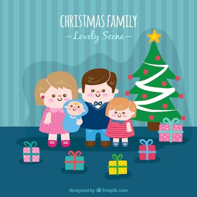Christmas family background with gifts and\ christmas tree
