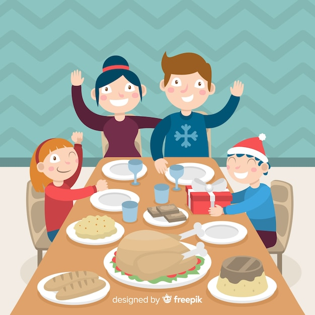 Christmas family background Free Vector