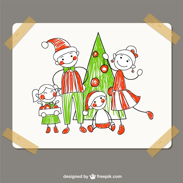 Christmas family drawing