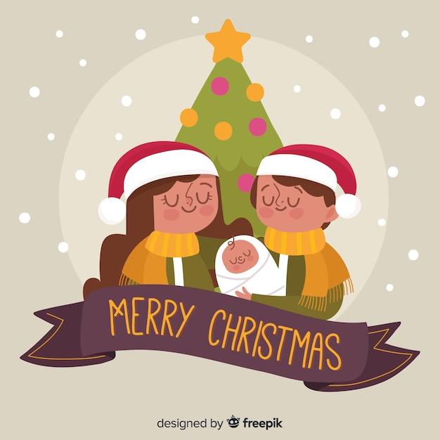Christmas family scene background Free Vector
