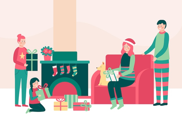 Christmas family scene concept in flat design Free Vector