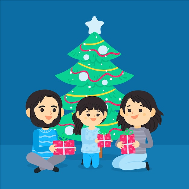 Christmas family scene concept in hand drawn Free Vector