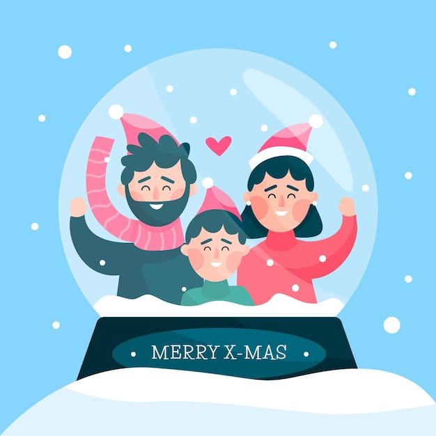 평면 디자인의 크리스마스 가족 장면 개념 무료 벡터
