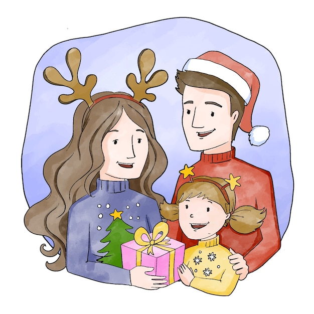 Christmas family scene concept in watercolor Free Vector