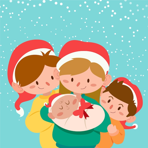 Christmas family scene in flat design Free Vector