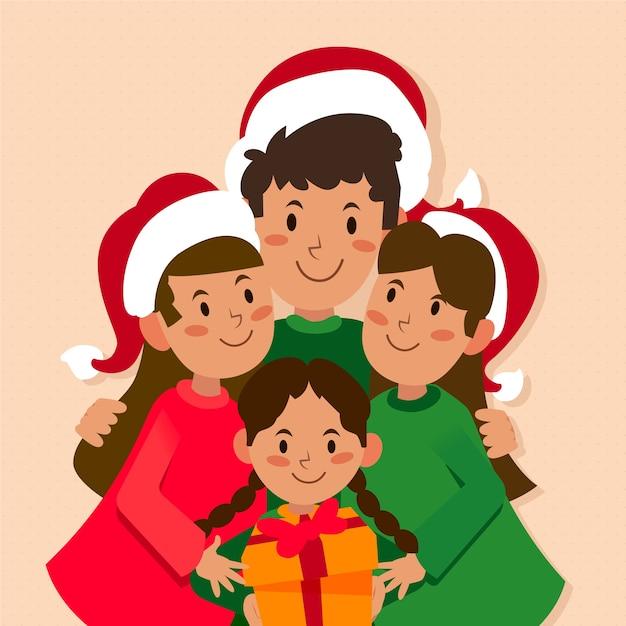 Christmas family scene in flat design Free Vector