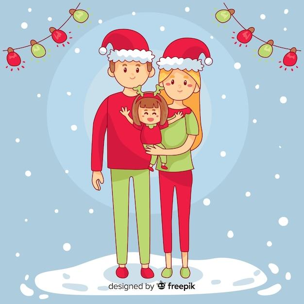 Christmas family scene Free Vector