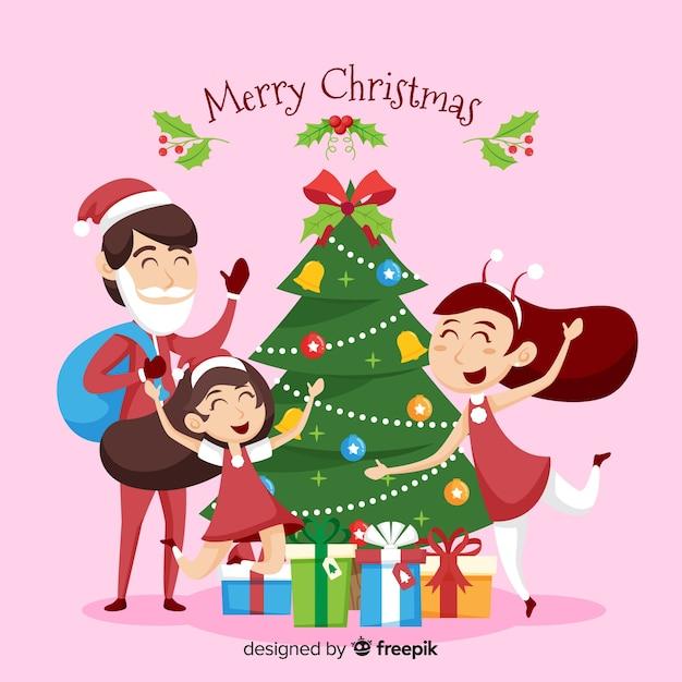 크리스마스 가족 장면 무료 벡터