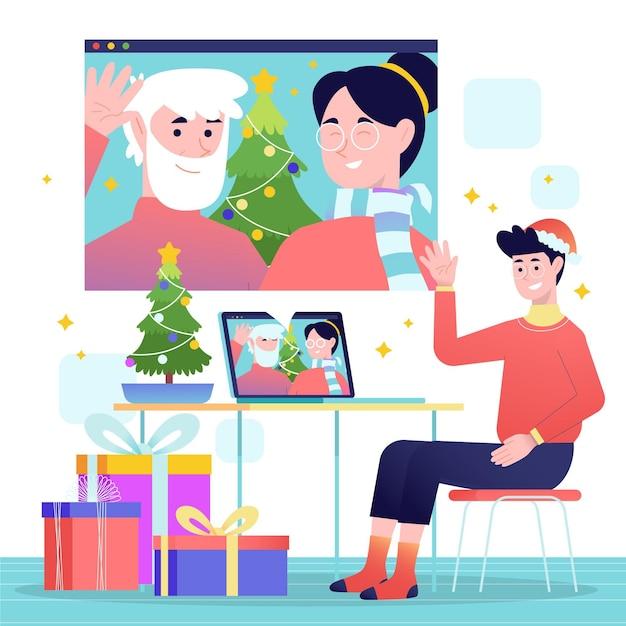 Рождественский семейный видеозвонок Бесплатные векторы