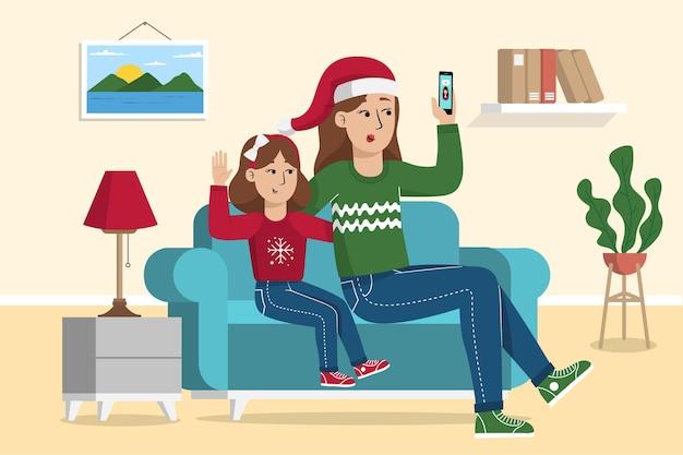 크리스마스 가족 videocall 그림 무료 벡터